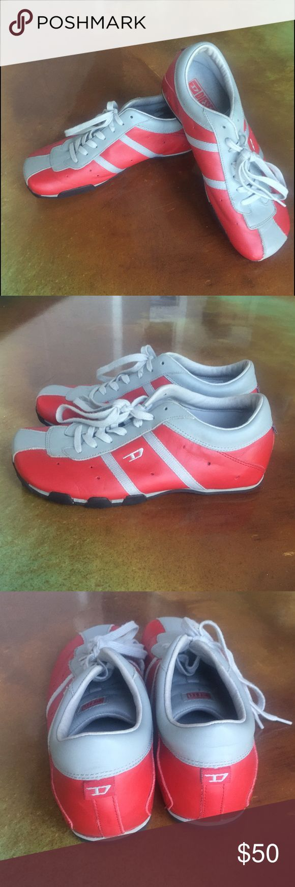 Like New Diesel Red / Gray Athletic Shoes Size 9.5 This is a fabulous pair of Diesel Athletic shoes in a size 9.5. These shoes are made of red leather trimmed in Gray and are in perfect condition. I don't think these were ever worn. I purchased these in NYC for $160. Diesel Shoes Athletic Shoes