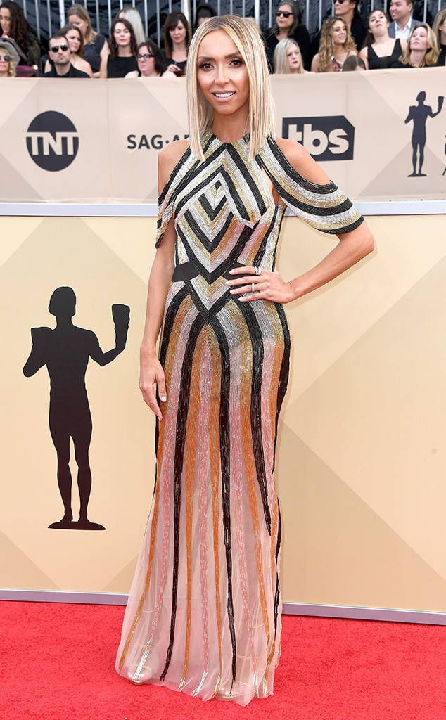 Giuliana Rancic from 2018 SAG Awards Red Carpet Fashion  In Steven Khalil