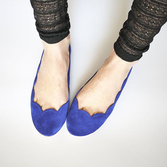Cobalt Blue Royal Blue Soft Suede Scalloped by elehandmade on Etsy, $110.00