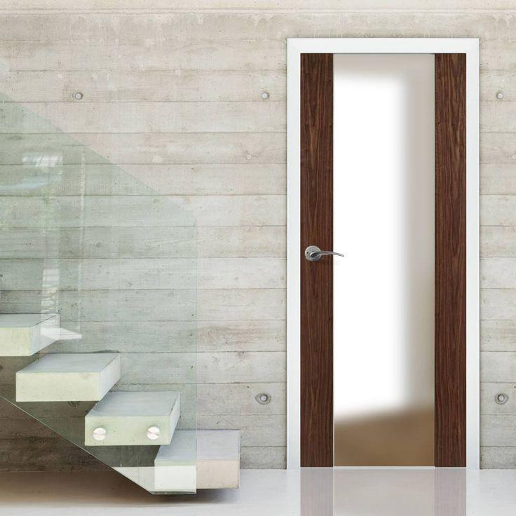 Door Set Kit, Toronto Walnut Door - Frosted Safe Glass. #contemporarydoor #moderndoor #internaldoor