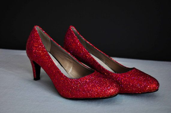Red wedding shoes super sparkly red glitter shoes by RagzDagzTM