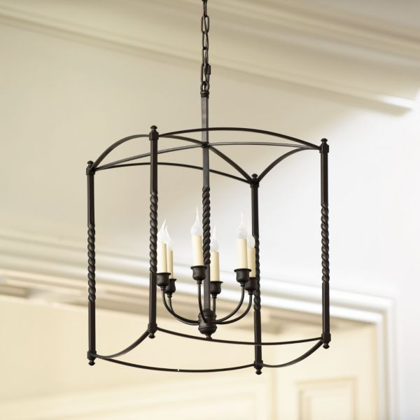 """Carriage House Chandelier Small: 8"""" Square X 12""""T Large"""