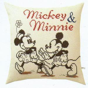 オリムパス クロスステッチ 刺繍キット(刺しゅうキット)ミッキー&ミニー クッション(ディズニー)