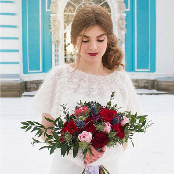 Set mittens and a cape for the bride knitted от LANABYSVETLANA