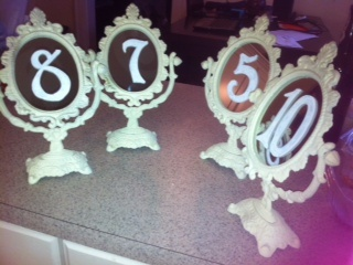 Vintage Table Numbers Bunting Frames Wedding Ceremony Gold Ivory Reception