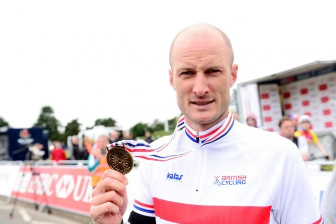 Road race title at British Nationals (Photo: Steve Cummings with his medal and his new national champs jersey)