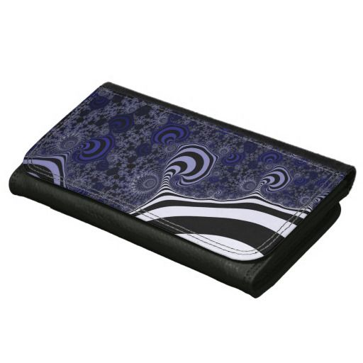 Blue and black striped fractal. leather wallets #leather, #leatherwallet, #wallets, #customized, personalized, artwork, buy, sale, #giftideas, #zazzle, shop, discount, deals, gifts, shopping, abstract, antenna, art, artwork, bee, black, #blue, bright, cold colors, computer, cool colors, duotone, #fractal, fractal art, fractal artwork, generated, illustration, julia, light, locator, mandelbrot, pattern, paw, square, striped, suction, white, strip, dark, funny strips, modern