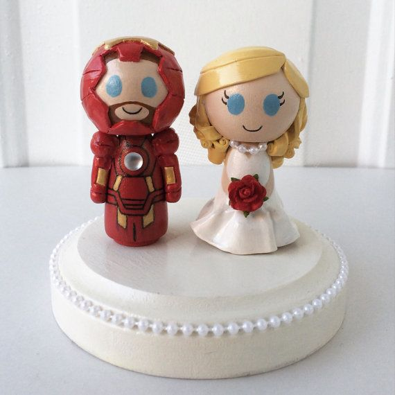 Hey, I found this really awesome Etsy listing at https://www.etsy.com/listing/215690203/iron-man-themed-wedding-cake-topper-w