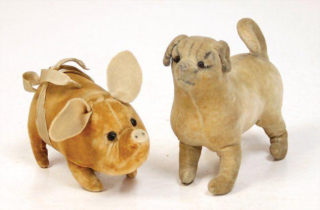 2 pieces velvet animals, c. 1910, pig with felt ears, : Lot 1548