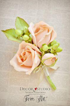 Купить Бутоньерка для жениха с цветами фоамирана - бутоньерка, бутоньерка для жениха, бутоньерка свадебная, бутоньерка жениху