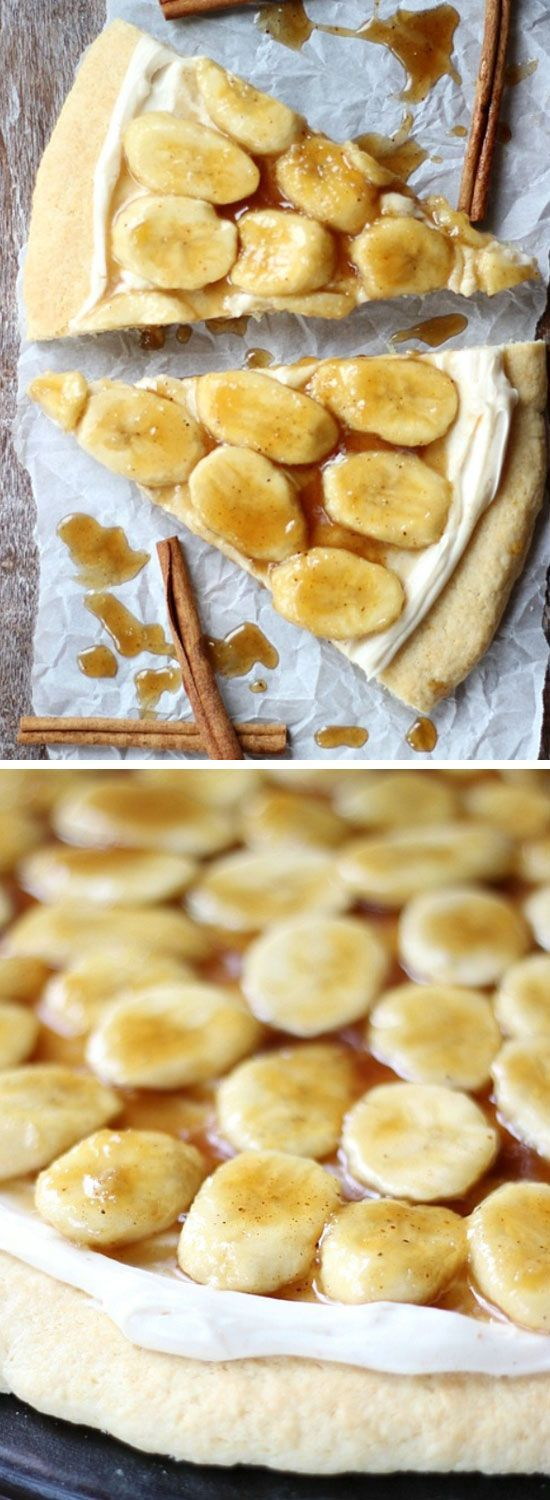 Bananas Foster Cookie Pizza   Click Pic for 18 Easy Fruit Pizza Recipes with Cream Cheese Frosting   Healthy Fruit Pizza Desserts