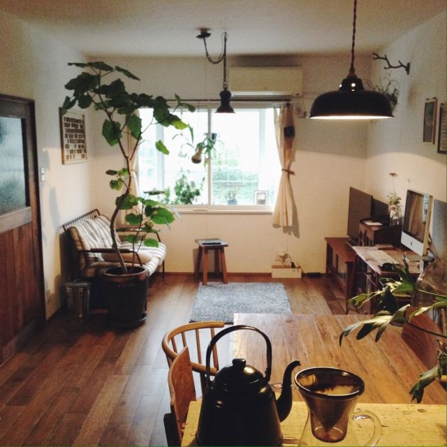 yama19さんの、リビング,観葉植物,雑貨,アンティーク,セルフリフォーム,リノベーション,中古住宅,男前,白壁,のお部屋写真