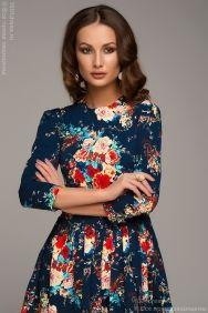 Темно-синее платье длины миди с бархатным принтом с запахом купить в интернет-магазине 1001DRESS