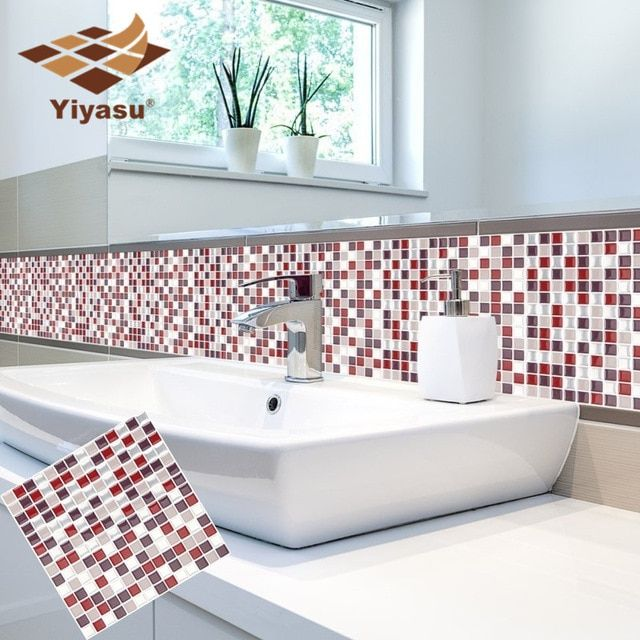 DIY 3D Mosaic Self Adhesive Wall Tile Sticker Vinyl Home Kitchen Bathroom Decor