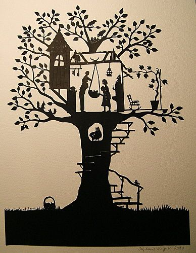 Treehouse family papercut