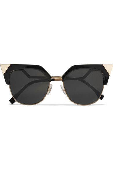 Fendi - Iridia Cat-eye Gold-tone And Acetate Sunglasses - Black