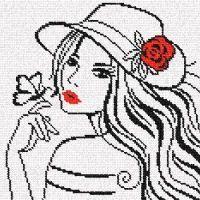 0 point de croix fille au papillon - cross stitch girl and butterfly