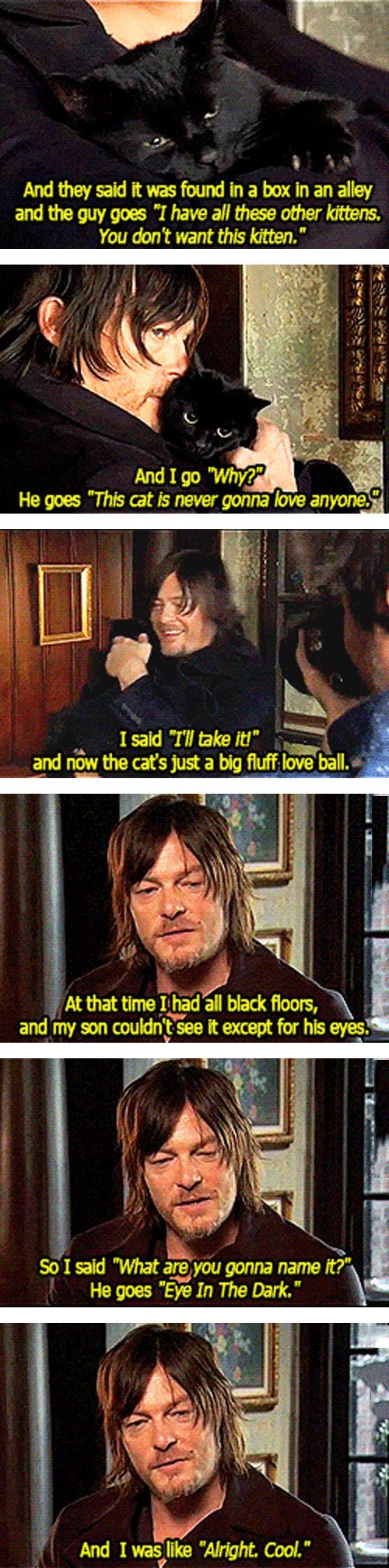 """Norman Reedus with his black cat, """"Eye in the Dark"""""""