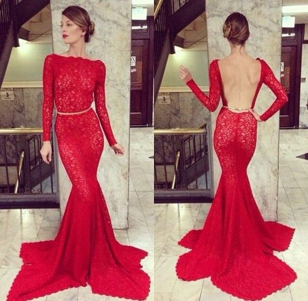 2014 New Arrival Prom Dresses Long Sleeve Sheer Lace Backless Mermaid High Neck Bateau Court Train Party Gowns - 1 $194