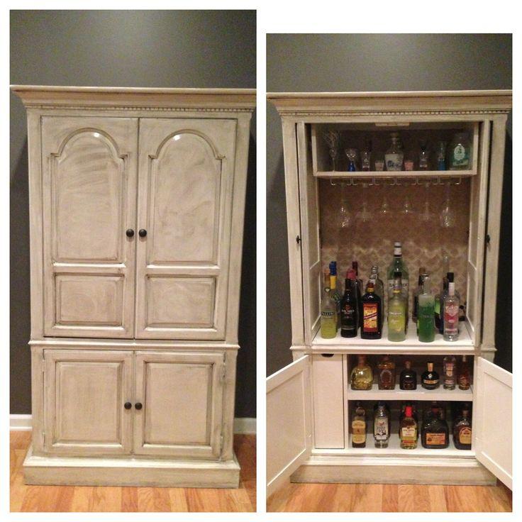 TV stand turned bar. Valspar chef white paint and antique glaze.   #furniture makeover #antique glaze #bar