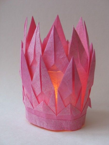 DIY Folded Tissue/Crepe Paper Layered Flames Campfire Votive/Luminary Candle Holder with LED-Tealight