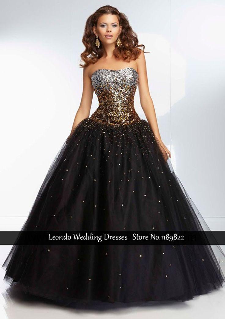 Long quinceanera dress black