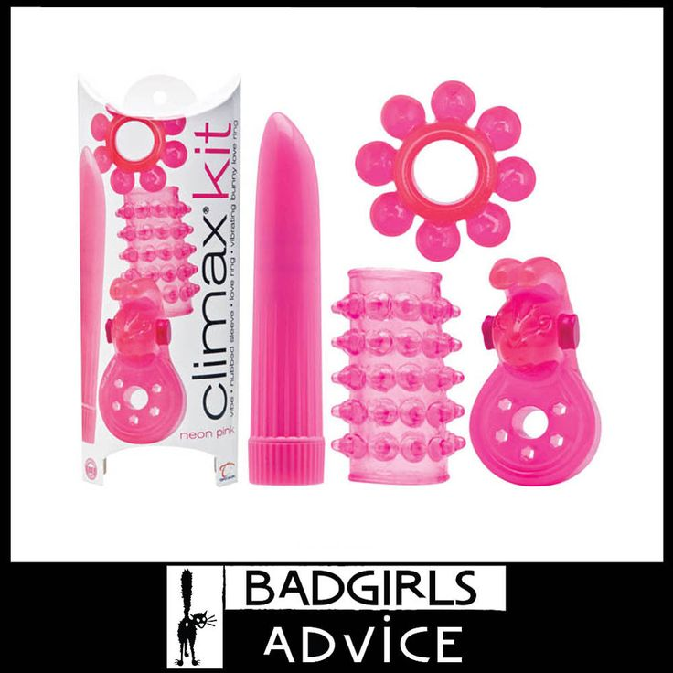 CLIMAX KIT - NEON PINK KIT - 4 PIECE SET COCK RING VIBRATOR JELLY SLEEVE COUPLES #badgirlsadvice