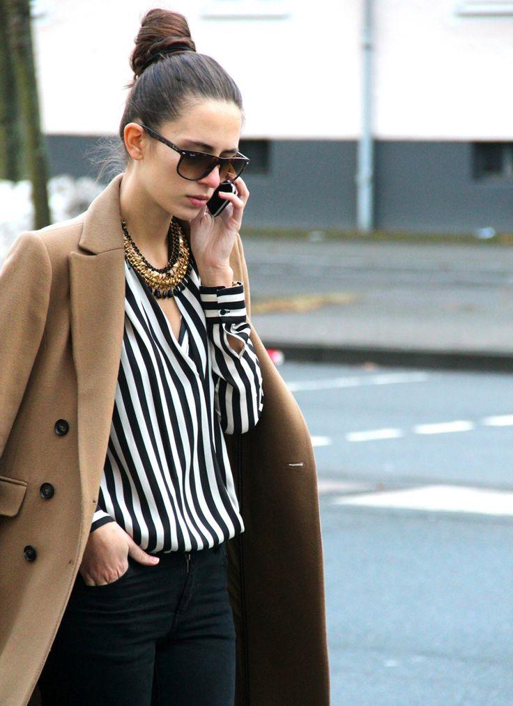 striped shirt x camel coat