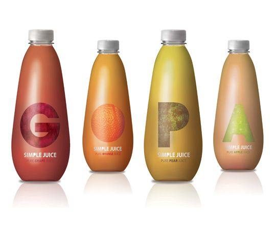 Pastel-colored fruit design packaging bottles with minimalistic elements.
