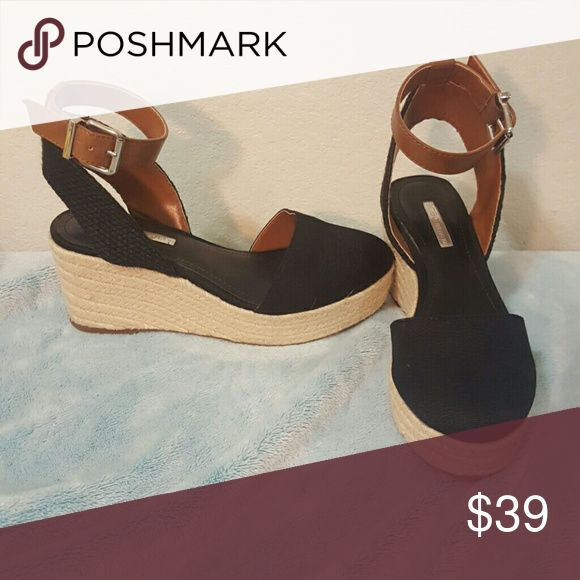 BCBG Espadrille Wedge Sandals Closed toe wedge sandals, used once. Look brand new. BCBGeneration Shoes Sandals