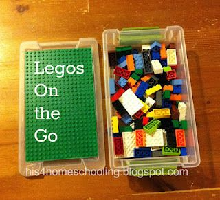 Legos on the Go (Travel Lego box idea from H is for Homeschooling) This is a great way to keep the random blocks made for building. The expensive kits need to stay at home. IMO
