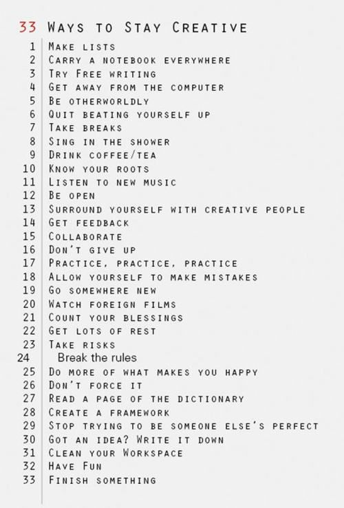 35 Ways to Stay Creative.