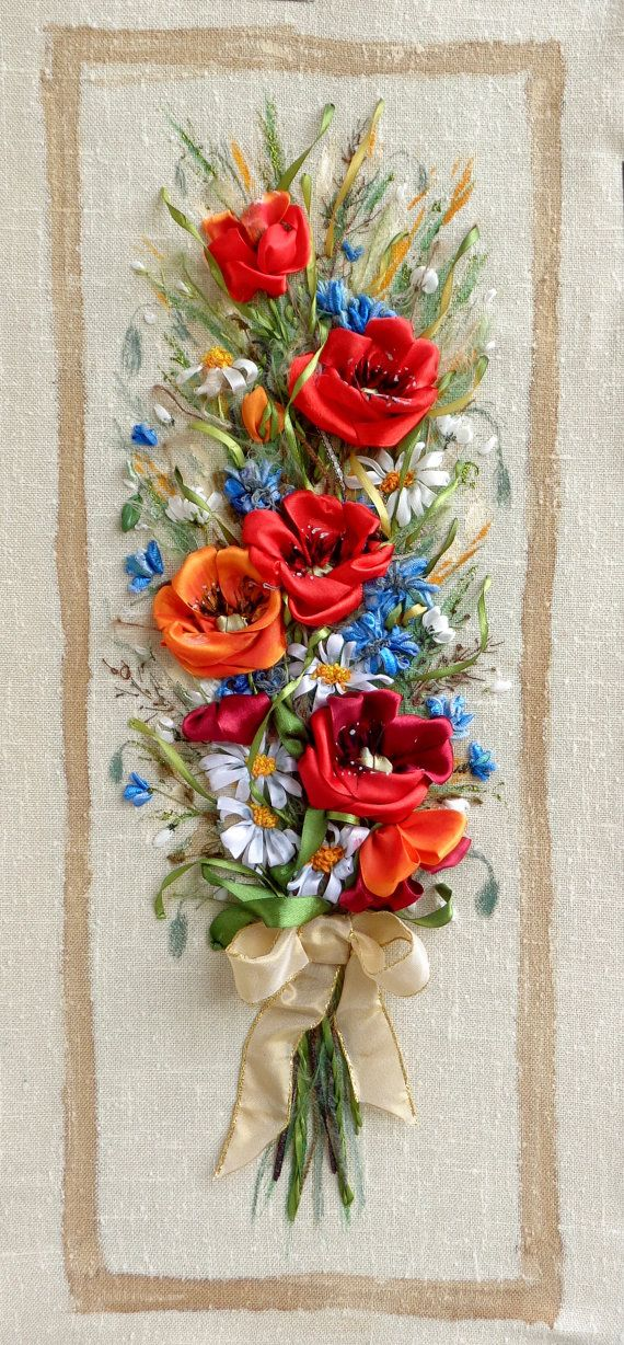 picture Wildflowers  bouquet  .Silk ribbon by SilkRibbonembroidery, €90.00