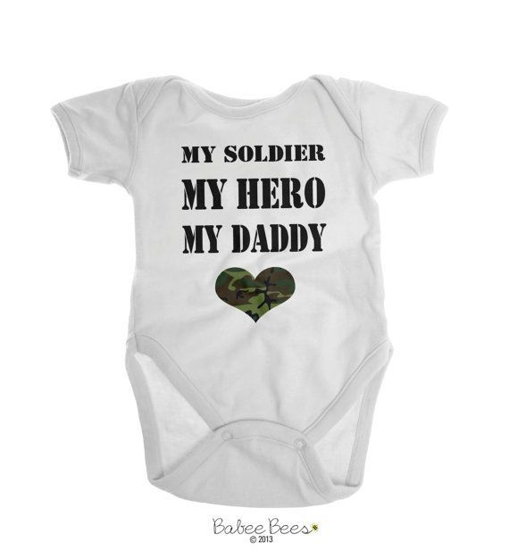 Grandchild New Baby FREE SHIPPING New Daddy Soldier Hero Daddy Baby Shower New Parent Gray Baby Bodysuit Cute Baby Gift Military