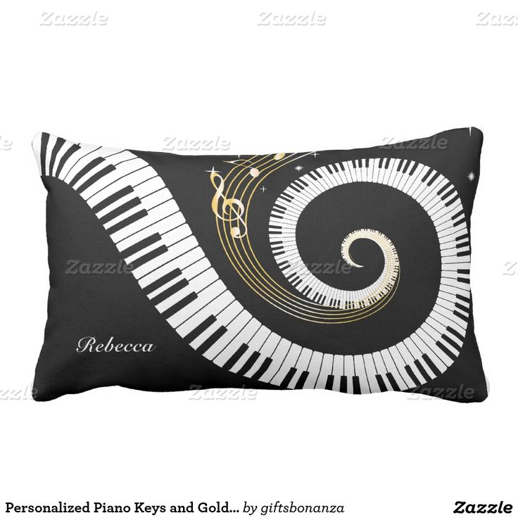 Personalized Piano Keys and Gold Music Notes Pillow