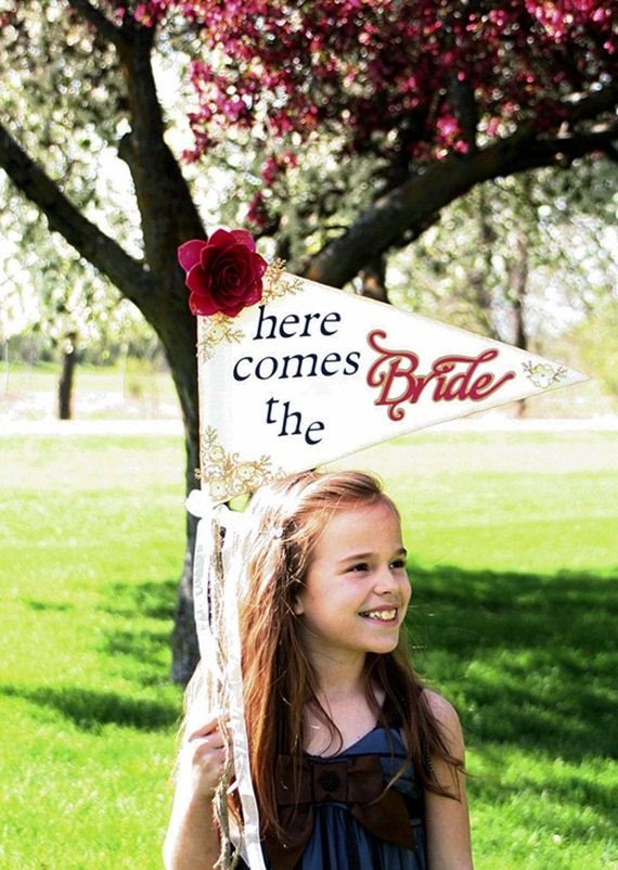 Here Comes The Bride Wedding Sign Wedding Pennant by TheMadStamperThe Bride