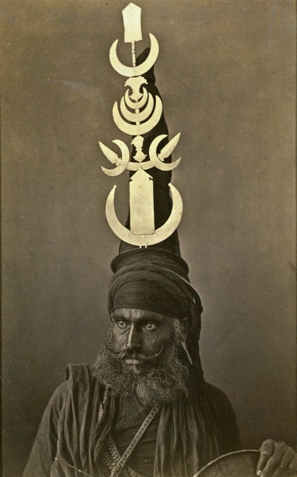 akali sikh warrior wearing the distinctive akali turban, photography by g western, india, about 1860.
