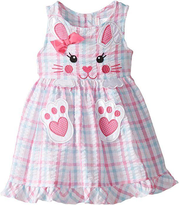 Amazon.com: Youngland Little Girls' Plaid Bunny Face Applique Seersucker Dress, Pink/Multi, 2T: Clothing