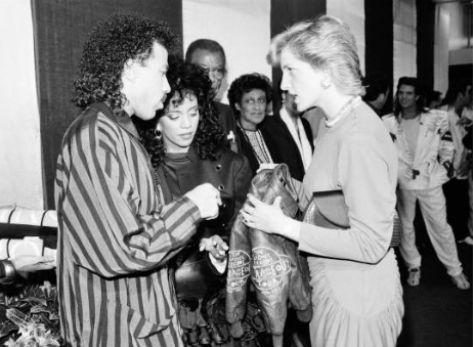 Lionel and Brenda Richie meeting Princess Diana