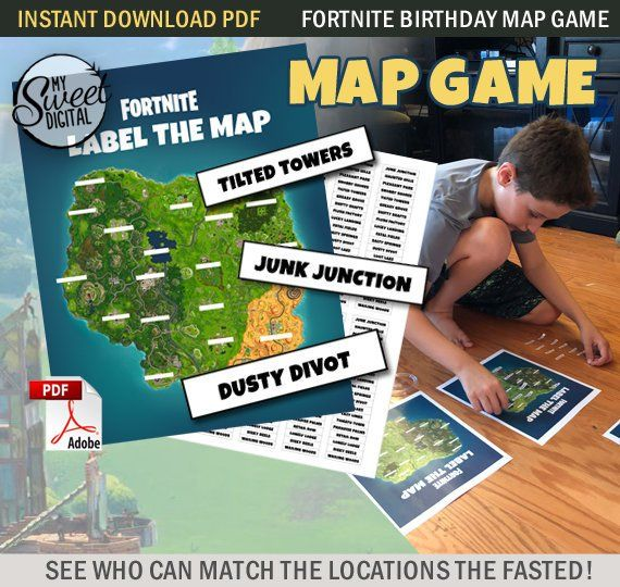 image regarding Printable Fortnite Map identified as Fast Down load Fortnite Birthday Concept Map Recreation Sport