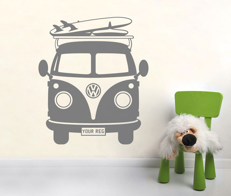 PERSONALISED VOLKSWAGEN Surfer camper van wall art, sticker, decal, VW (Your own registration number) by NSVINYLS on Etsy