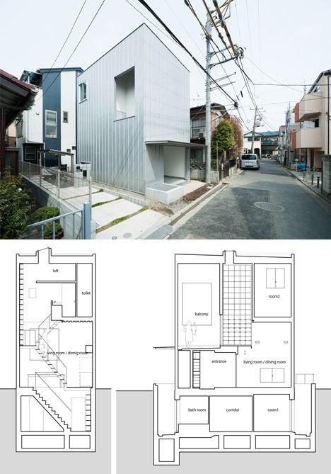 Designed by Ryuji Fujimura Architects, one would be hard-pressed to guess what lies inside simply looking at the minimalist exterior of this new home in Kanagawa, Japan.