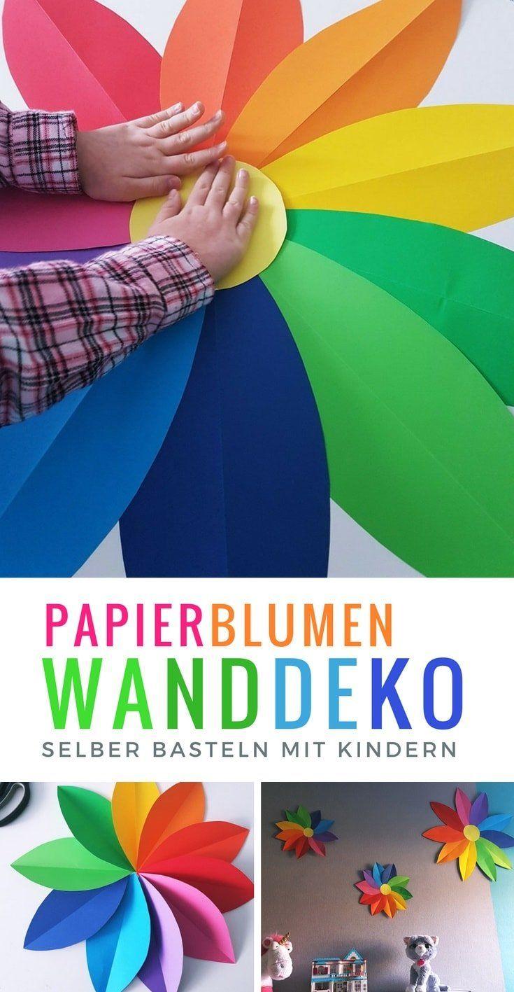 Regenbogen Papierblumen: Einfache Bastelanleitung für eine Kinderzimmer Wanddeko