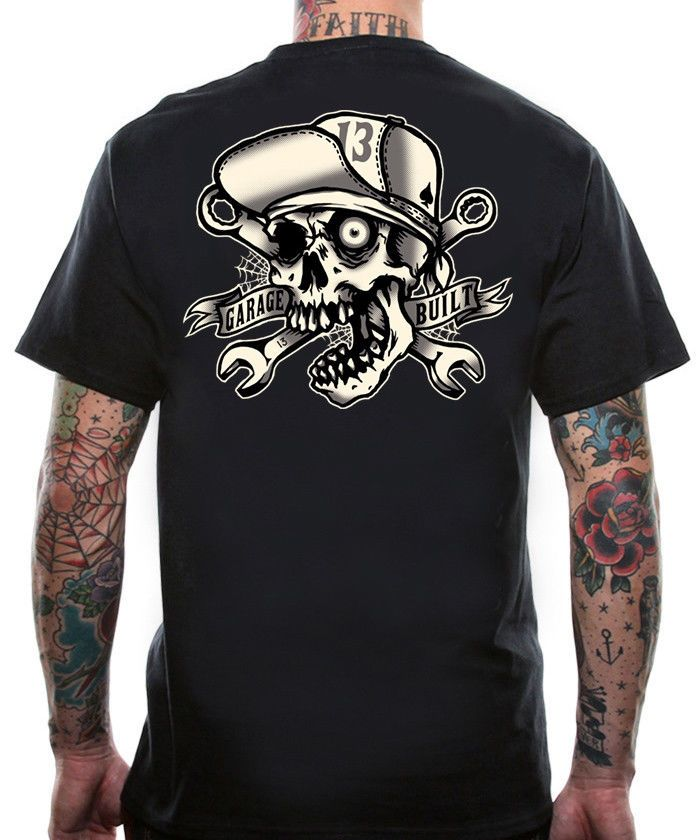 6ecf42d3b898 Lucky 13 T Shirt Mens Skull Bro Tattoo Old School Hot Rod Motorcycle  Mechanic  Lucky13  GraphicTee