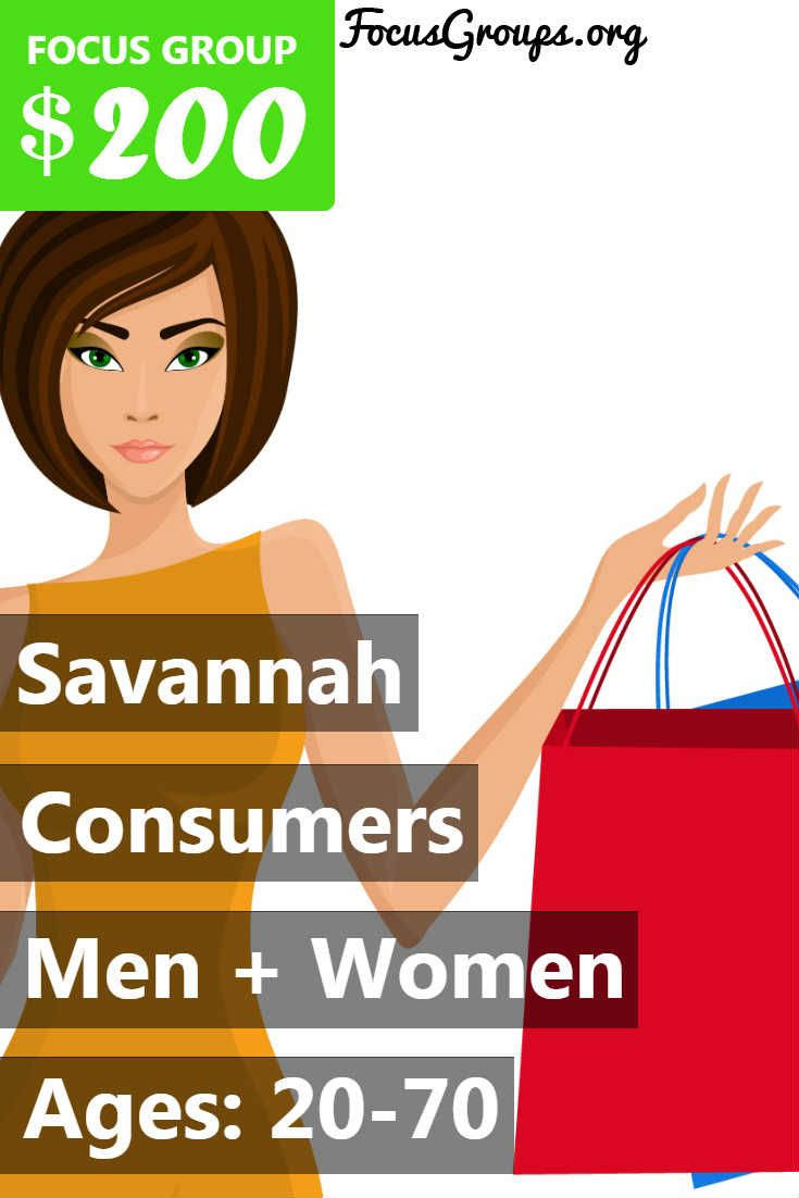 """Paid focus groups in Savannah, GA! Fieldwork is looking for men and women ages 20-70 to participate in a market research study June 26-29. Qualified participants who complete the 2-hour focus group will receive $200 for their time an opinions. If you or someone you know lives in the Savannah, GA area and is interested, please sign up and take the survey to see if you qualify or call Fieldwork at 1-844-343-5395 and ask for the """"Consumers in Savannah"""" study for more information. Thank you!"""