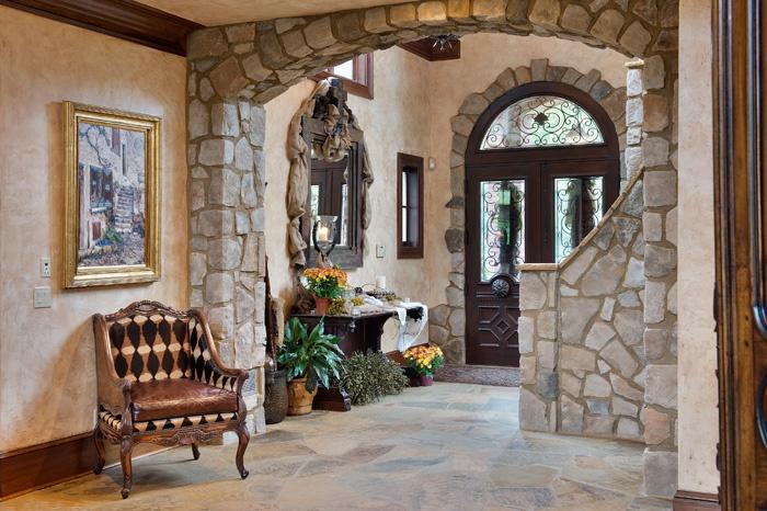 Stone Foyer Entrance : Entry foyer custom iron glass doors stone arches