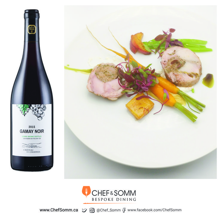 Pork Sausage-stuffed Rabbit with Heirloom Baby Carrots, Peaches and Green Beans, paired with Château des Charmes, Gamay Noir, Ontario, 2015 more about this pairing on our IG & FB pages @chef_somm