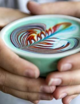 A new hipster coffee trend has hit Melbourne. (Love the image.) Rainbow coffee!