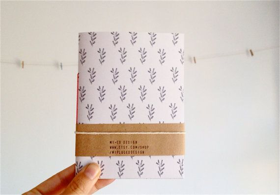 Hand Stitched Mini Journal with Botanical Illustration in Black and White, Pocket Notebook Minimalist