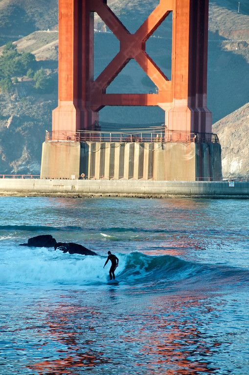 surfing the Golden Gate Bridge